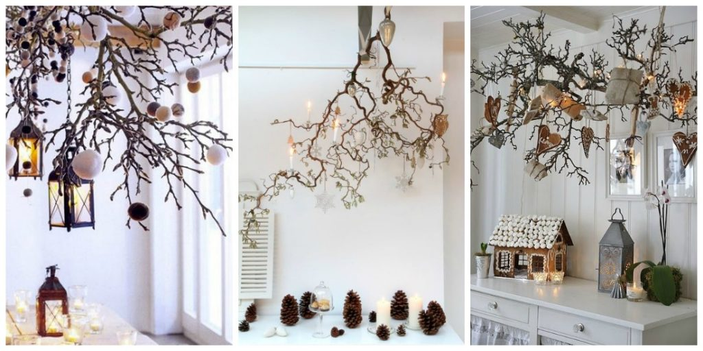 inspiration diy des branches suspendues pour no l black confetti. Black Bedroom Furniture Sets. Home Design Ideas