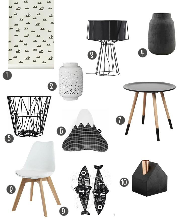 selection objets noirs et blancs
